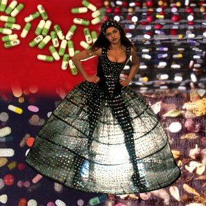 A woman in a dress woven with pills, superimposed on a montage of pill fabrics.
