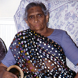 Mrs. Patel in her pill sari