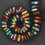 A spiral of pills in fabric