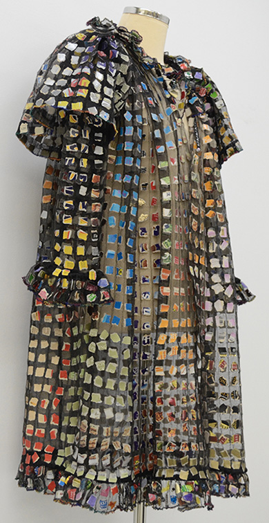 A jacket made with tiny pieces of food packaging
