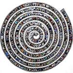 A fabric spiral of photos