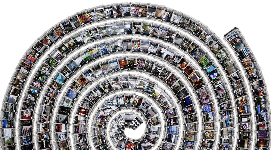 A fabric spiral of photos